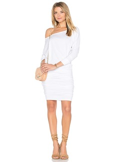 MONROW Off Shoulder Blouson Dress in White. - size S (also in L,XS)