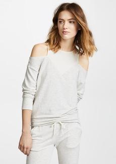 MONROW Off Shoulder Double Layer Sweatshirt
