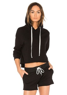 MONROW Oversized Cropped Hoodie in Black. - size L (also in M,S,XS)