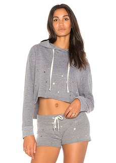 MONROW Oversized Cropped Hoodie in Gray. - size L (also in M,S,XS)