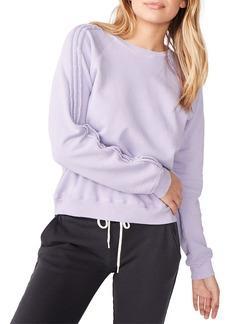 Monrow Pintuck Raglan-Sleeve Cotton Sweatshirt