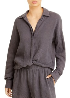 Monrow Relaxed Button Front Blouse