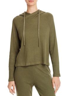 Monrow Rib-Knit Hooded Sweatshirt