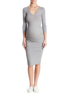 MONROW Ruched Maternity T-Shirt Dress