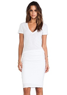 MONROW Shirred Tee Dress in White. - size S (also in M,XS)