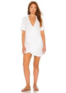 MONROW Shirred Waist Shirt Dress