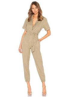 MONROW Short Sleeve Side Zip Detail Jumpsuit