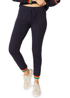Monrow Skinny Drawstring Sweatpants with Rainbow Cuffs