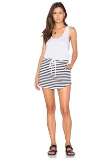MONROW Solid & Stripe Tennis Dress