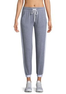 Monrow Sporty Heathered Drawstring Side-Stripe Sweatpants