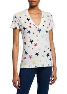 Monrow Stars V-Neck Short-Sleeve Cotton T-Shirt