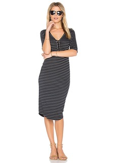 MONROW Stripe Lace Up Dress in Black. - size S (also in M,XS)