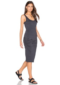 MONROW Stripe Shirred Tank Dress