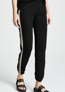 MONROW Supersoft Elastic Waist Sweats with Neutral Stripes