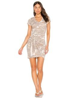 MONROW Urban Camo Short Sleeve V Dress With Tie