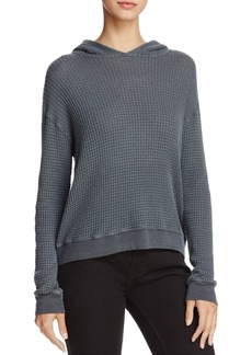 Monrow Waffle-Knit Hooded Sweatshirt