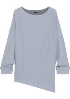 Monrow Woman Asymmetric Ribbed Cotton And Modal-blend Top Sky Blue