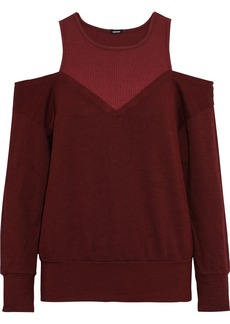 Monrow Woman Cold-shoulder Ribbed Jersey-paneled French Terry Sweatshirt Burgundy