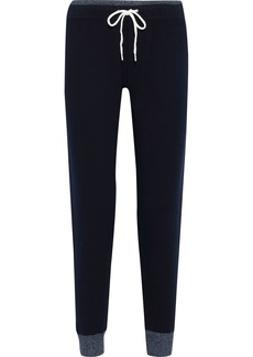 Monrow Woman Cropped Fleece Thermal Track Pants Midnight Blue
