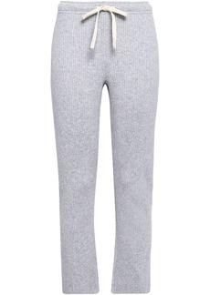 Monrow Woman Cropped Ribbed Wool-blend Slim-leg Pants Light Gray