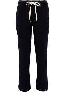 Monrow Woman Cropped Ribbed Wool-blend Slim-leg Pants Black