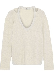 Monrow Woman Cutout Mélange French Terry Top Cream
