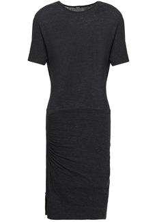 Monrow Woman Cutout Mélange Stretch-jersey Mini Dress Black