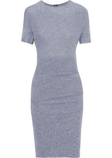 Monrow Woman Cutout Mélange Stretch-jersey Mini Dress Gray
