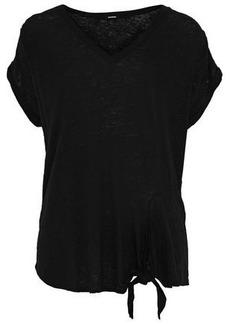 Monrow Woman Knotted Slub Linen-jersey T-shirt Black