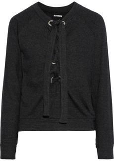 Monrow Woman Lace-up Fleece Sweatshirt Charcoal