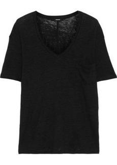 Monrow Woman Linen-jersey T-shirt Black