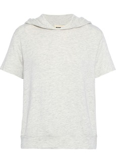 Monrow Woman Mélange French Terry Hoodie Off-white