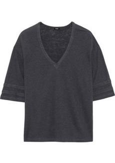 Monrow Woman Oversized Slub Tencel And Linen-blend T-shirt Charcoal