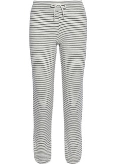 Monrow Woman Pinstriped French-terry Track Pants Black