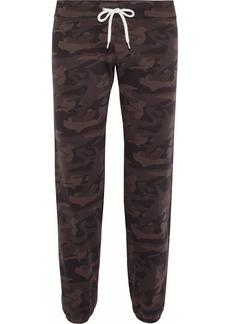 Monrow Woman Printed Cotton-fleece Track Pants Chocolate