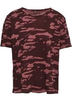 Monrow Woman Printed Cotton-jersey T-shirt Merlot