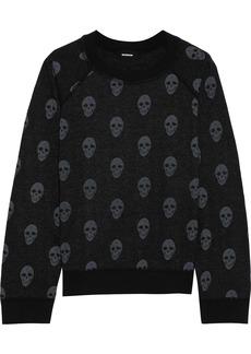 Monrow Woman Printed Fleece Sweatshirt Black