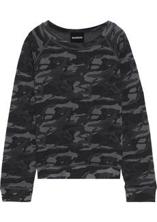 Monrow Woman Printed French Terry Sweatshirt Charcoal