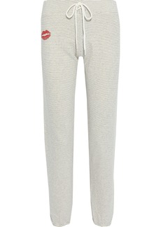 Monrow Woman Printed Pinstriped French Cotton-blend Terry Track Pants Off-white