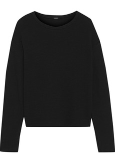 Monrow Woman Ribbed Knit-paneled French Terry Top Black