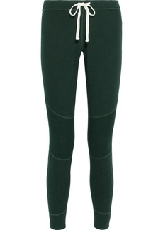 Monrow Woman Ribbed Knit-paneled French-terry Track Pants Emerald