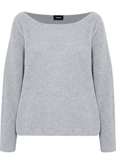 Monrow Woman Ribbed Wool And Cashmere-blend Sweater Stone