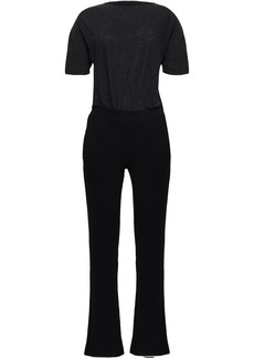 Monrow Woman Slub Jersey And French Terry-paneled Jumpsuit Black