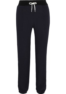 Monrow Woman Striped Washed-crepe Track Pants Midnight Blue