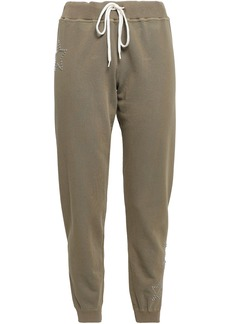 Monrow Woman Studded French Cotton-terry Track Pants Army Green