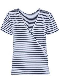Monrow Woman Wrap-effect Striped Cotton And Modal-blend Jersey T-shirt White