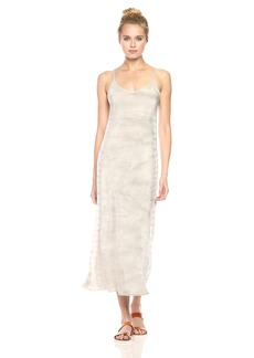 Monrow Women's Bias Slip Dress W/Spiral Tie Dye ash Green M