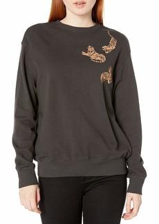 Monrow Women's Boyfriend Sweatshirt w/Printed Tigers