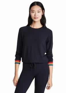 Monrow Women's Crew Neck Sweatshirt w/Rainbow Cuff
