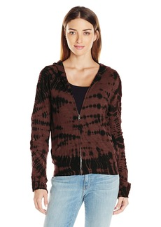 Monrow Women's Crocodile Tie Dye Zip Front Sweatshirt  S